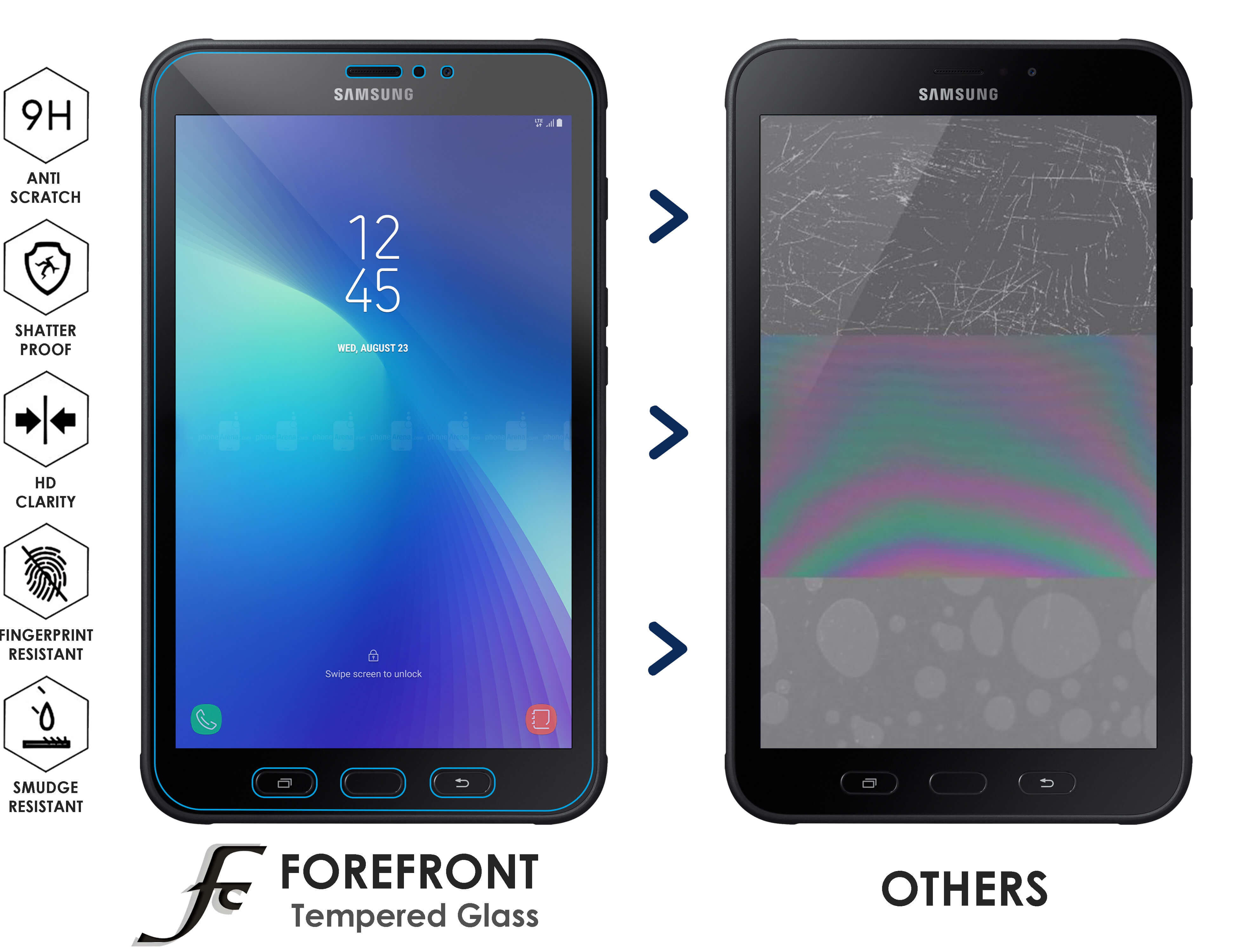 Forefront Cases Samsung Galaxy Tab Active 2 8 0″ SM T395 HD Tempered Glass Screen Protector Guard – PACK OF 2