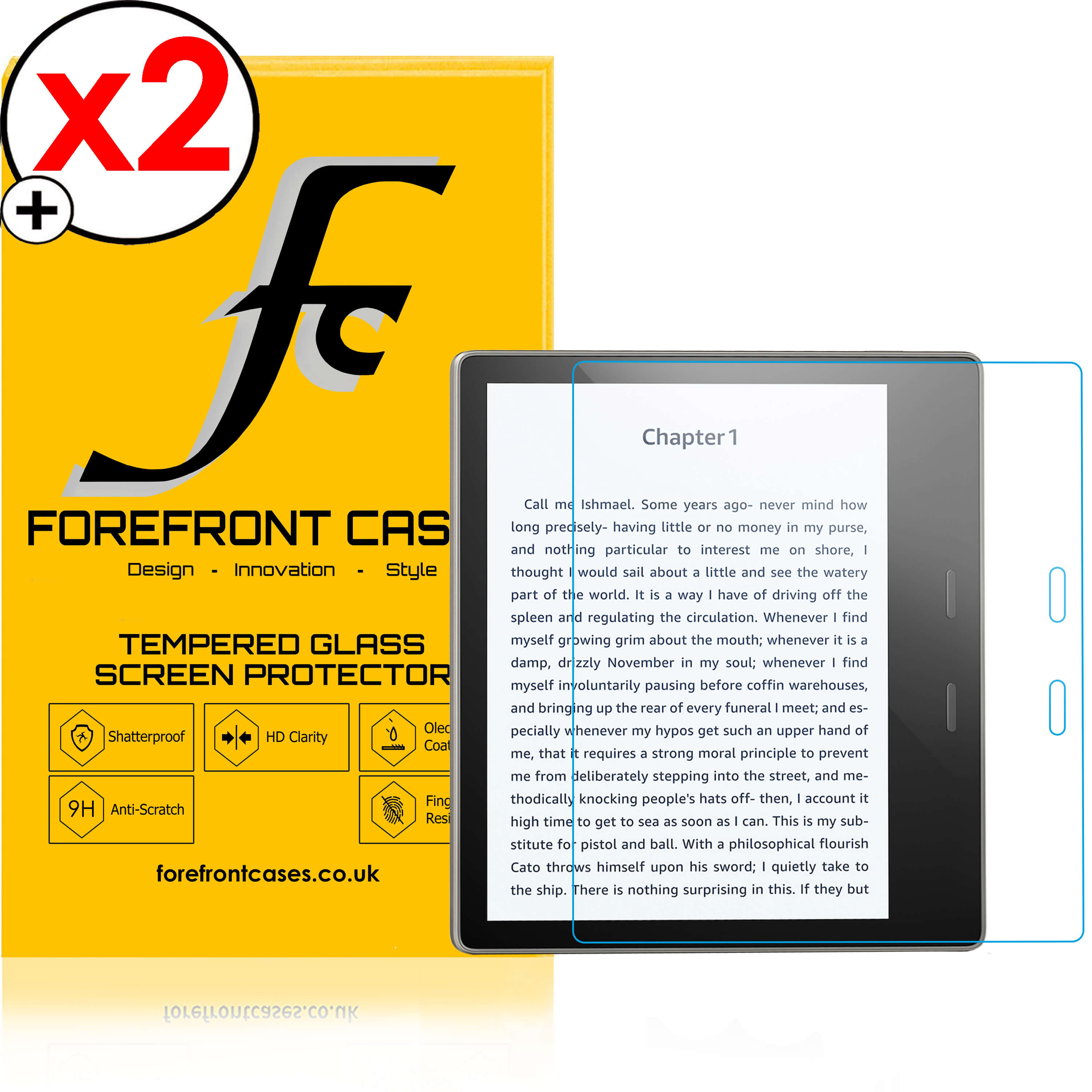 Forefront Cases® Amazon Kindle Oasis 2017 HD Tempered Glass Screen  Protector Guard - PACK OF 2