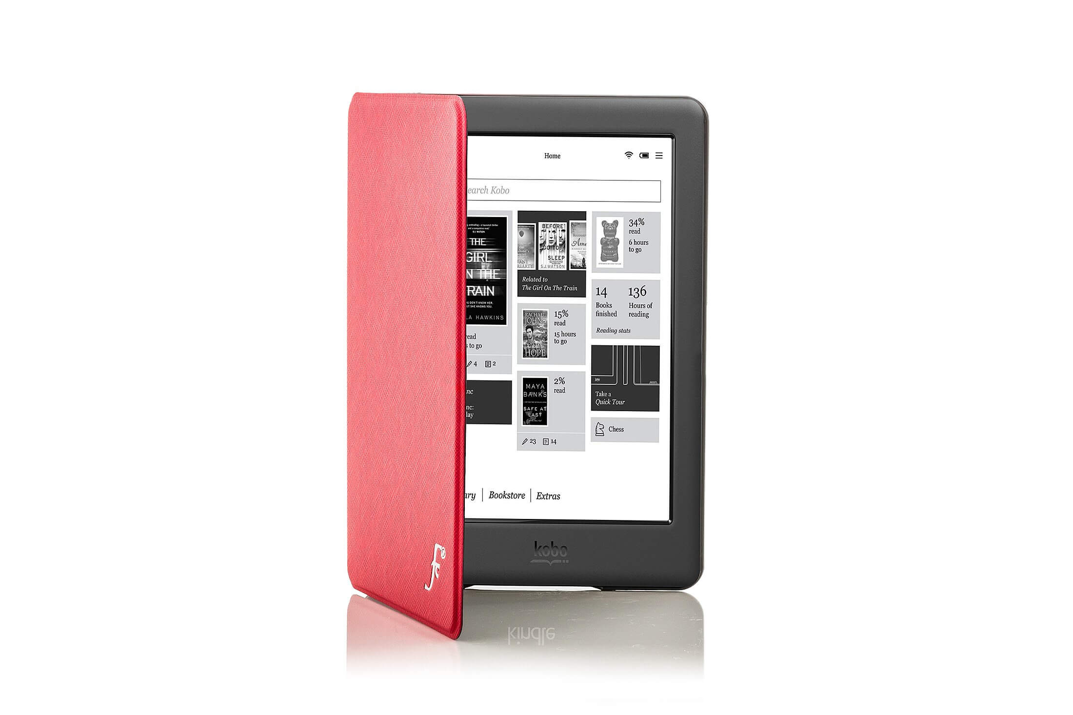 Forefront Cases® Kobo Glo HD Shell Smart Case Cover Stand (RED)