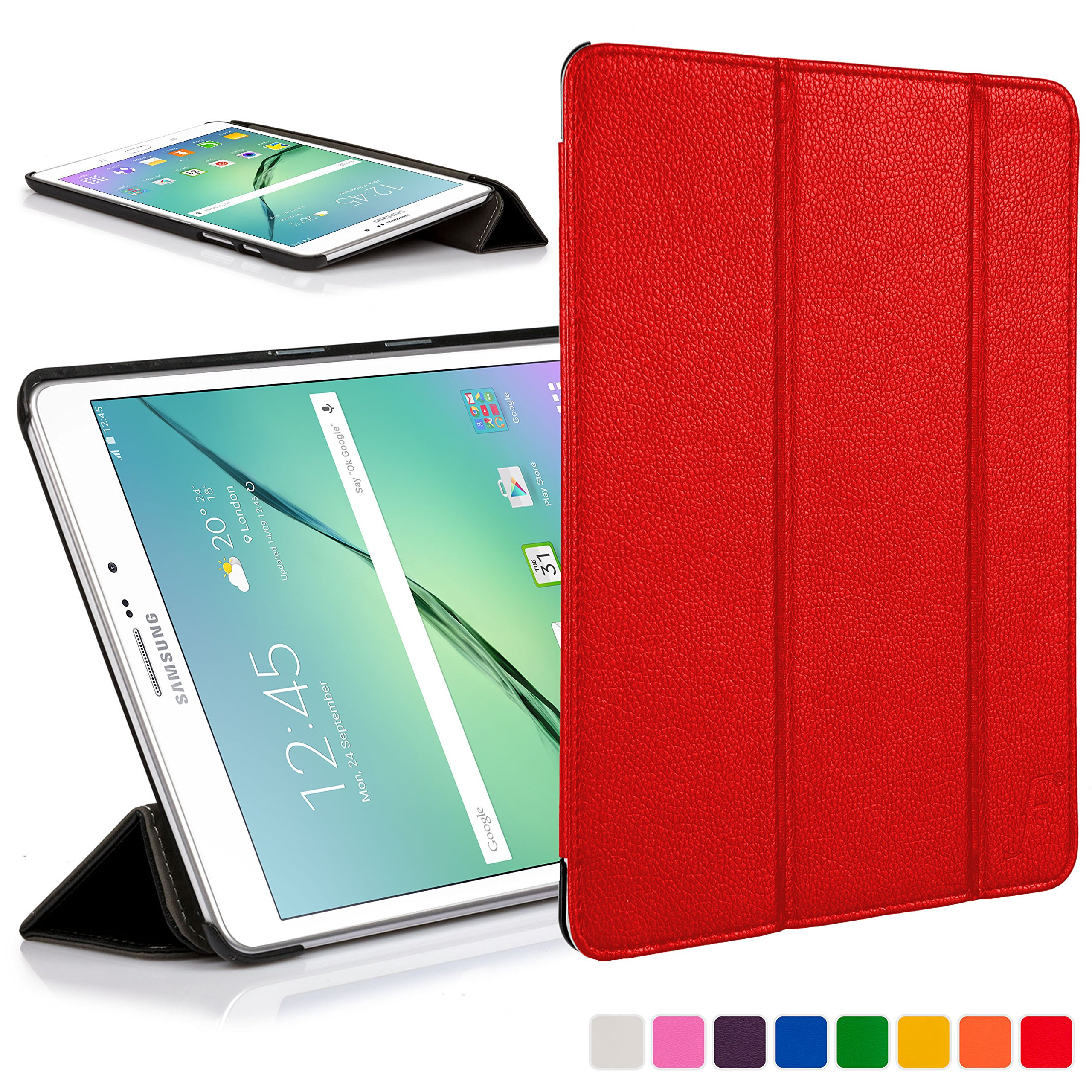 Forefront Cases® Samsung Galaxy Tab S2 8 0 Leather Folding Smart Case Cover  Stand (RED)
