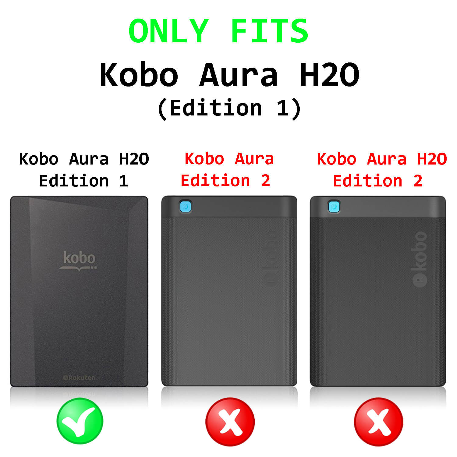 Forefront Cases® Kobo Aura H2O Edition 1 1st Generation N250 Origami Case  Cover Stand – Ultra Slim Lightweight with full device protection and Smart