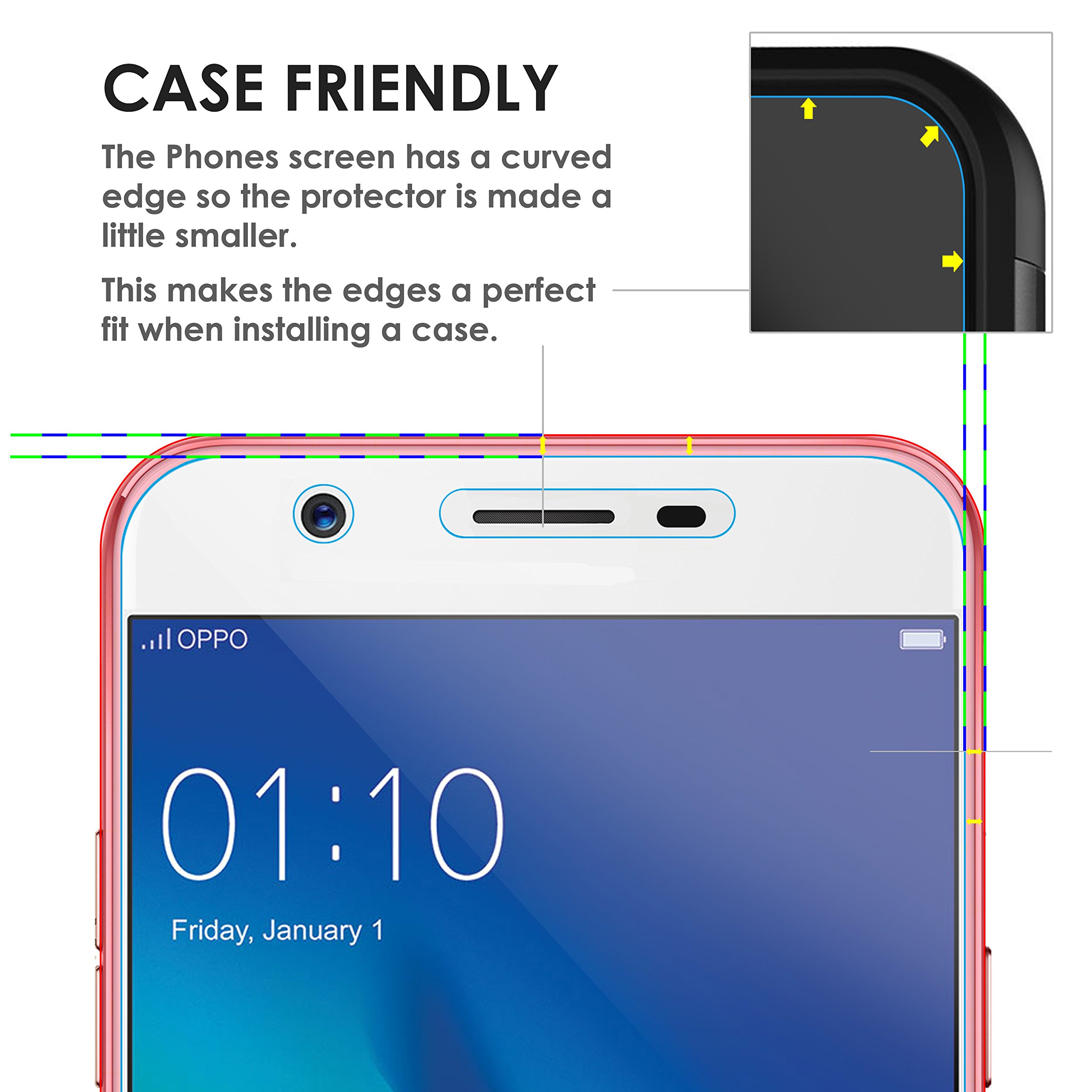 Forefront Cases Oppo F1s Hd Tempered Glass Screen Protector Guard Full Layar Pack Of 3