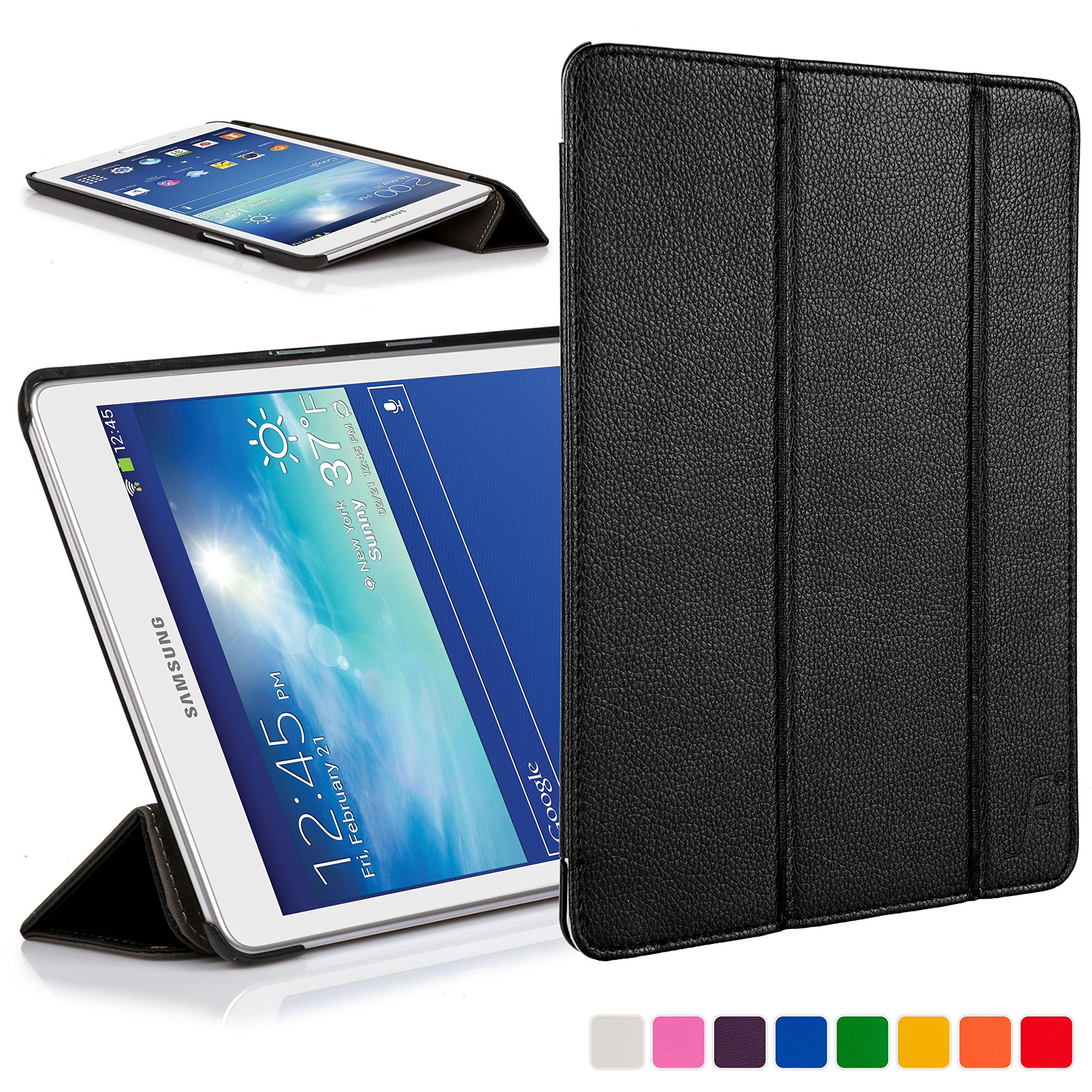 meet 95c85 f5277 Forefront Cases® Samsung Galaxy Tab 3 Lite 7.0 / Tab E Lite 7.0 Leather  Folding Smart Case Cover Stand (BLACK)