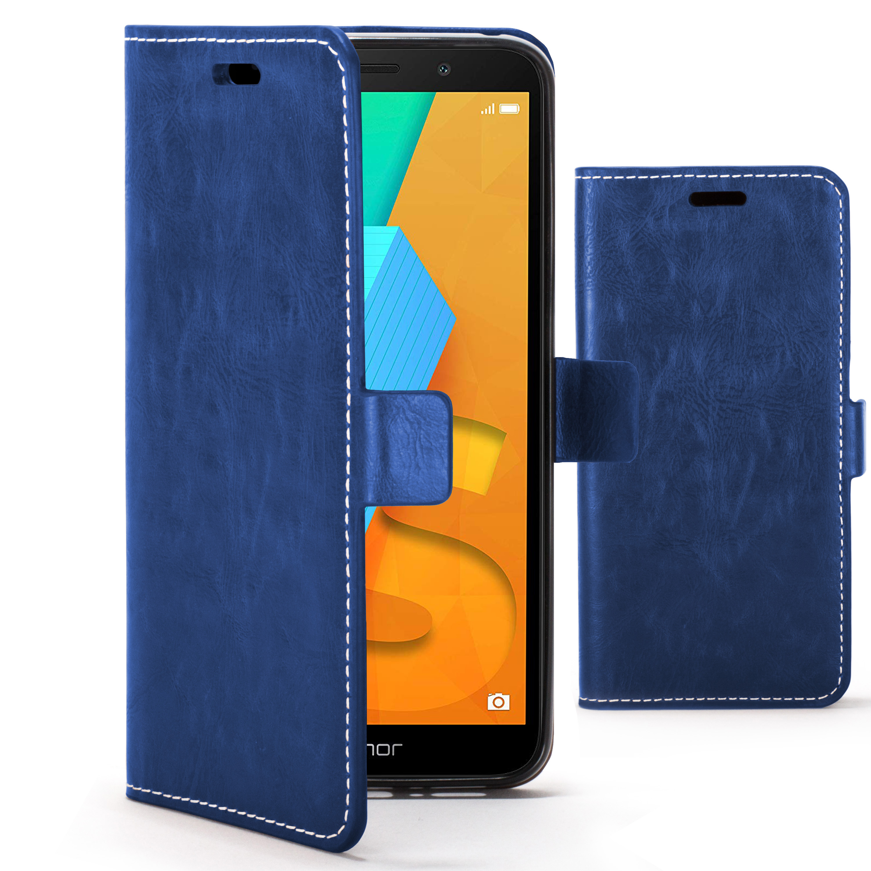 hot sale online f80e7 2e1ad Forefront Cases Huawei Honor 7S Premium Handmade PU Leather Case Cover    Navy Blue
