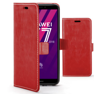 various colors 7987b d5627 Forefront Cases Huawei Y7 Pro / Y7 2018 / Y7 Prime 2018 Premium Handmade PU  Leather Case Cover | Red