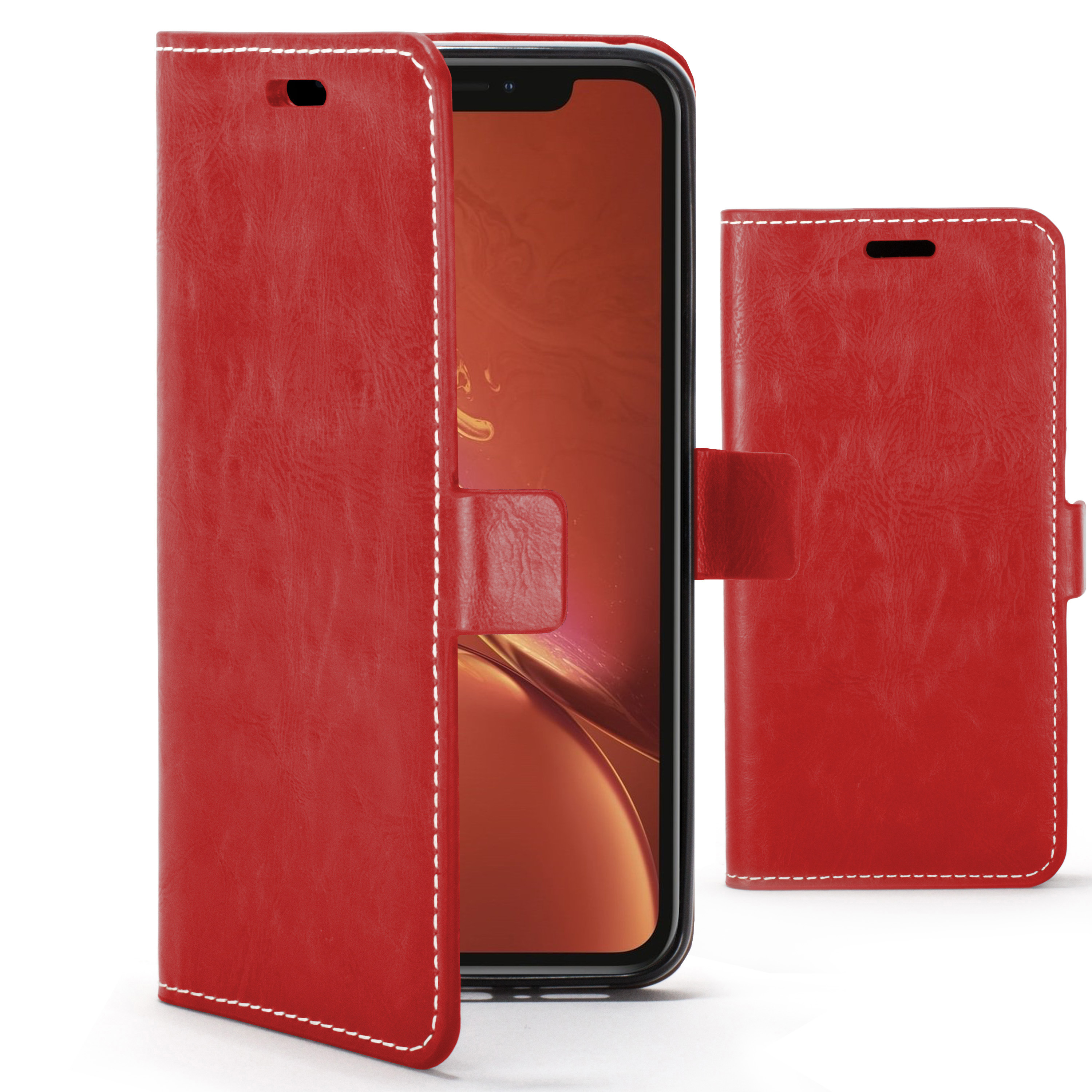 check out 4fd68 cdead Forefront Cases Apple iPhone XR Premium Handmade PU Leather Case Cover | Red