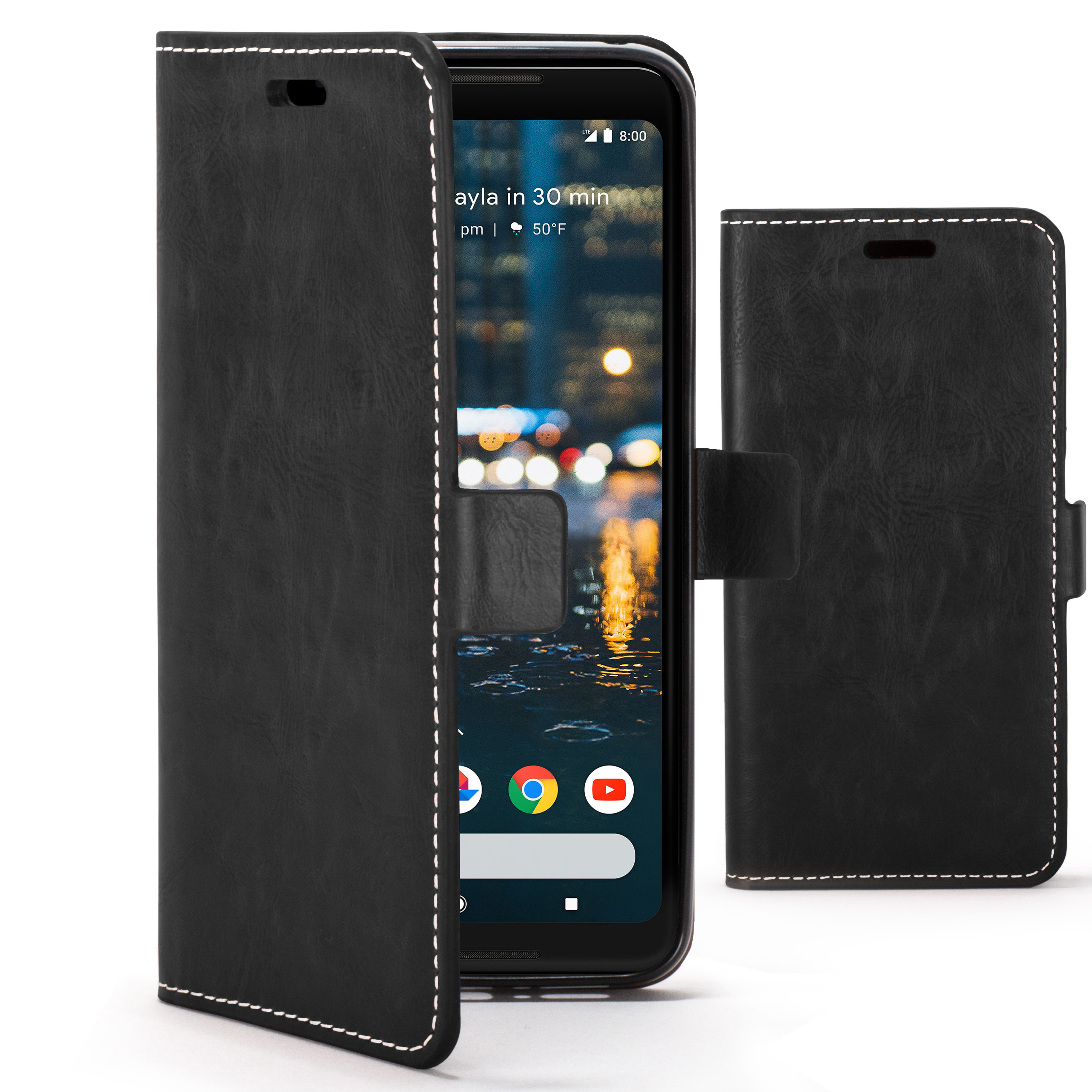 best website 65a48 e5fac Forefront Cases Google Pixel 2 XL Premium Handmade PU Leather Case Cover |  Black