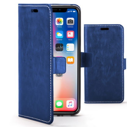 buy online 783c8 f4686 Forefront Cases Apple iPhone X Premium Handmade PU Leather Case Cover    Navy Blue