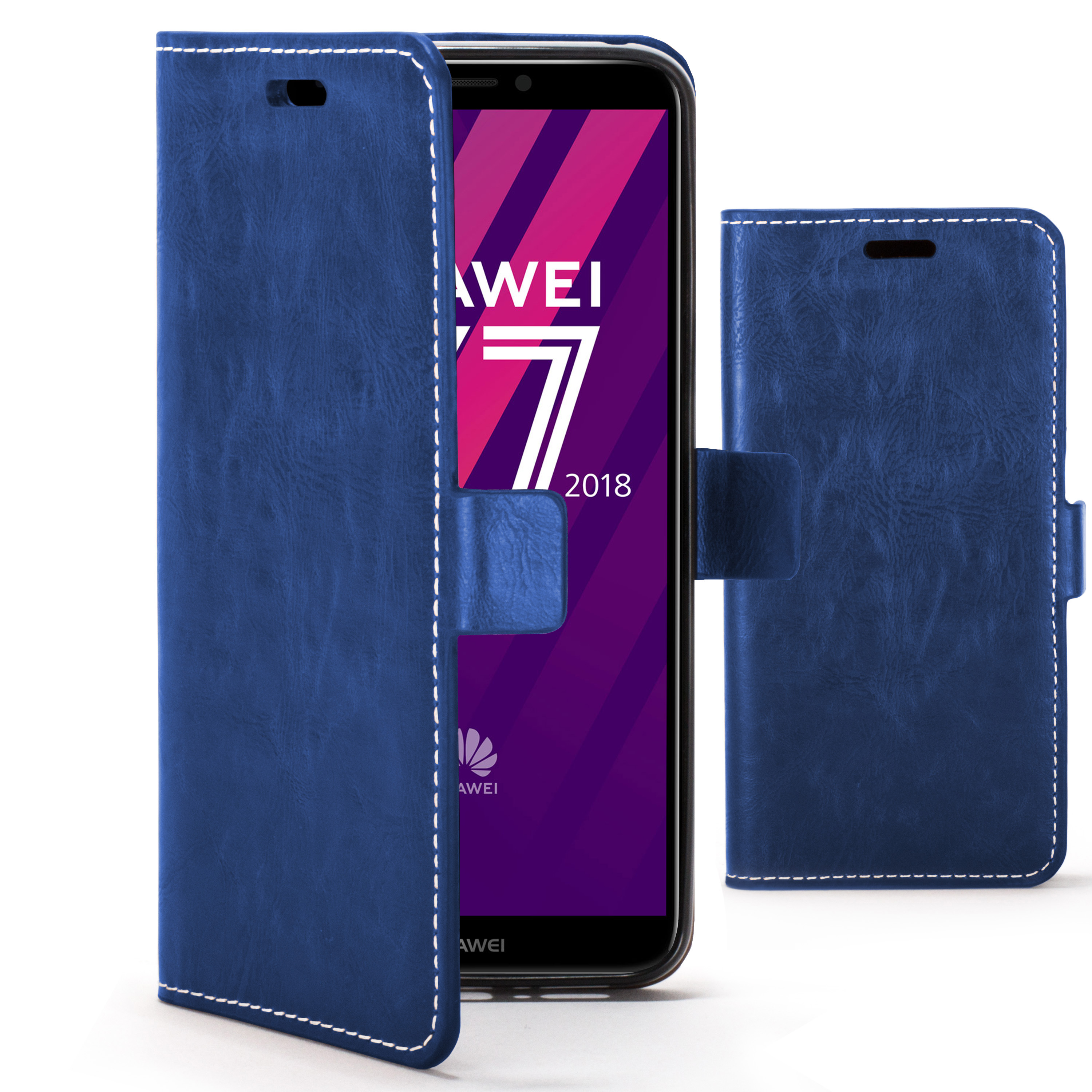 new product 6832c 11d7b Forefront Cases Huawei Y7 Pro / Y7 2018 / Y7 Prime 2018 Premium Handmade PU  Leather Case Cover   Navy Blue