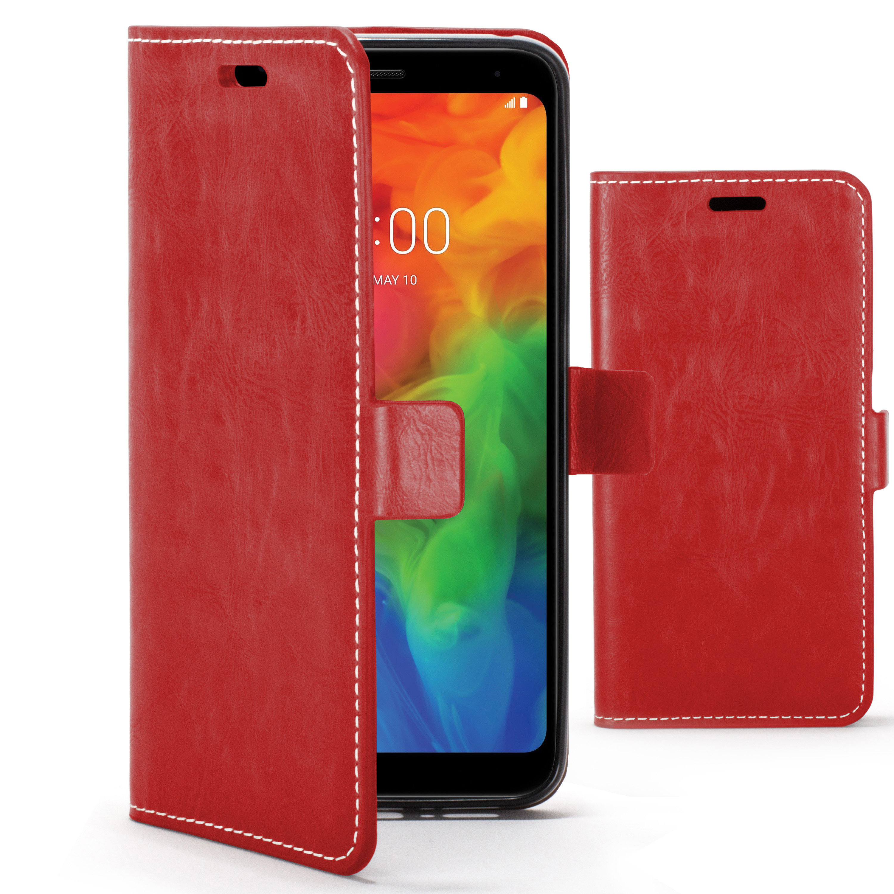 pretty nice 51922 de93a Forefront Cases LG Q7 Premium Handmade PU Leather Case Cover   Red