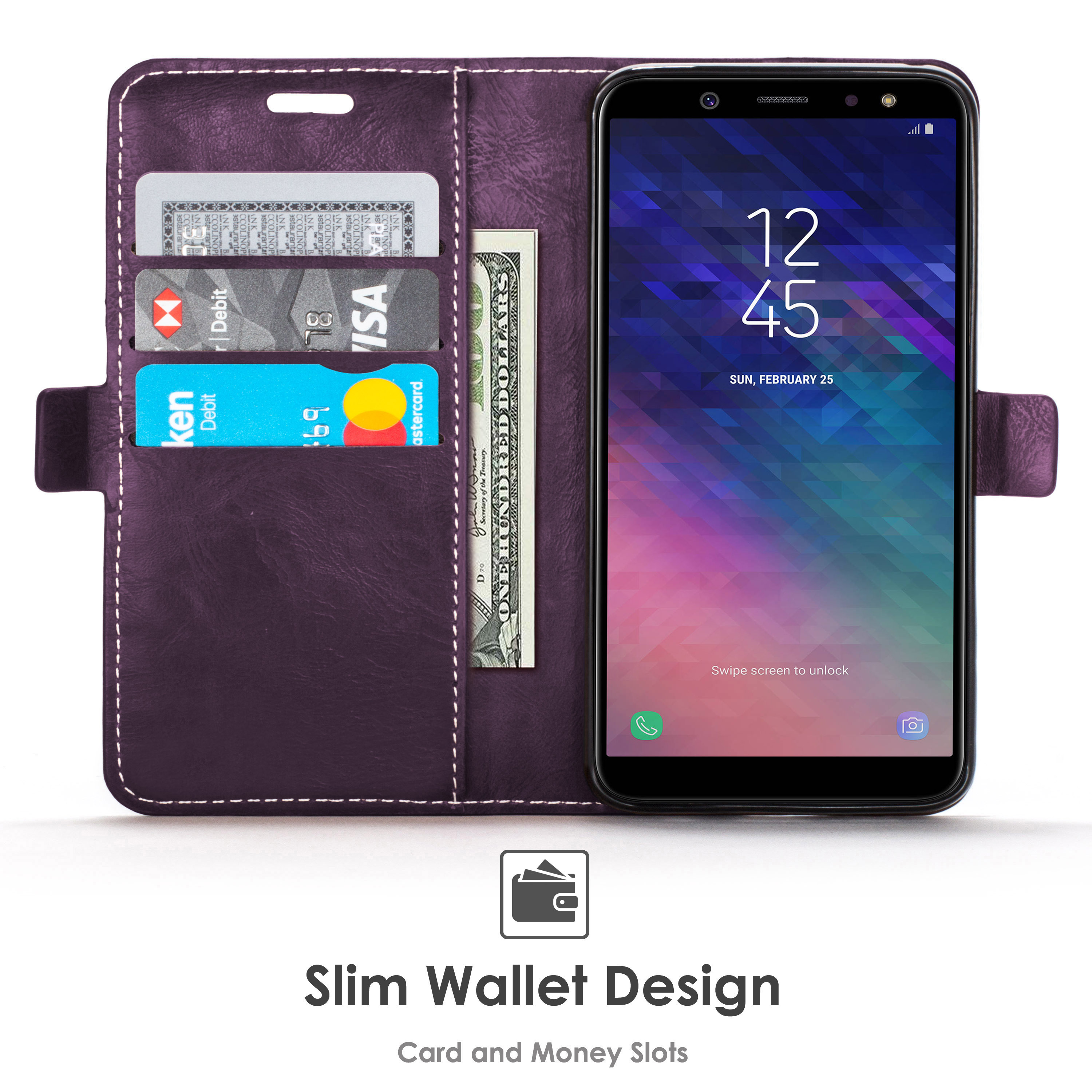 factory price cd1fb ed903 Forefront Cases Samsung Galaxy A6 Plus / Galaxy A6+ Premium Handmade PU  Leather Case Cover | Purple