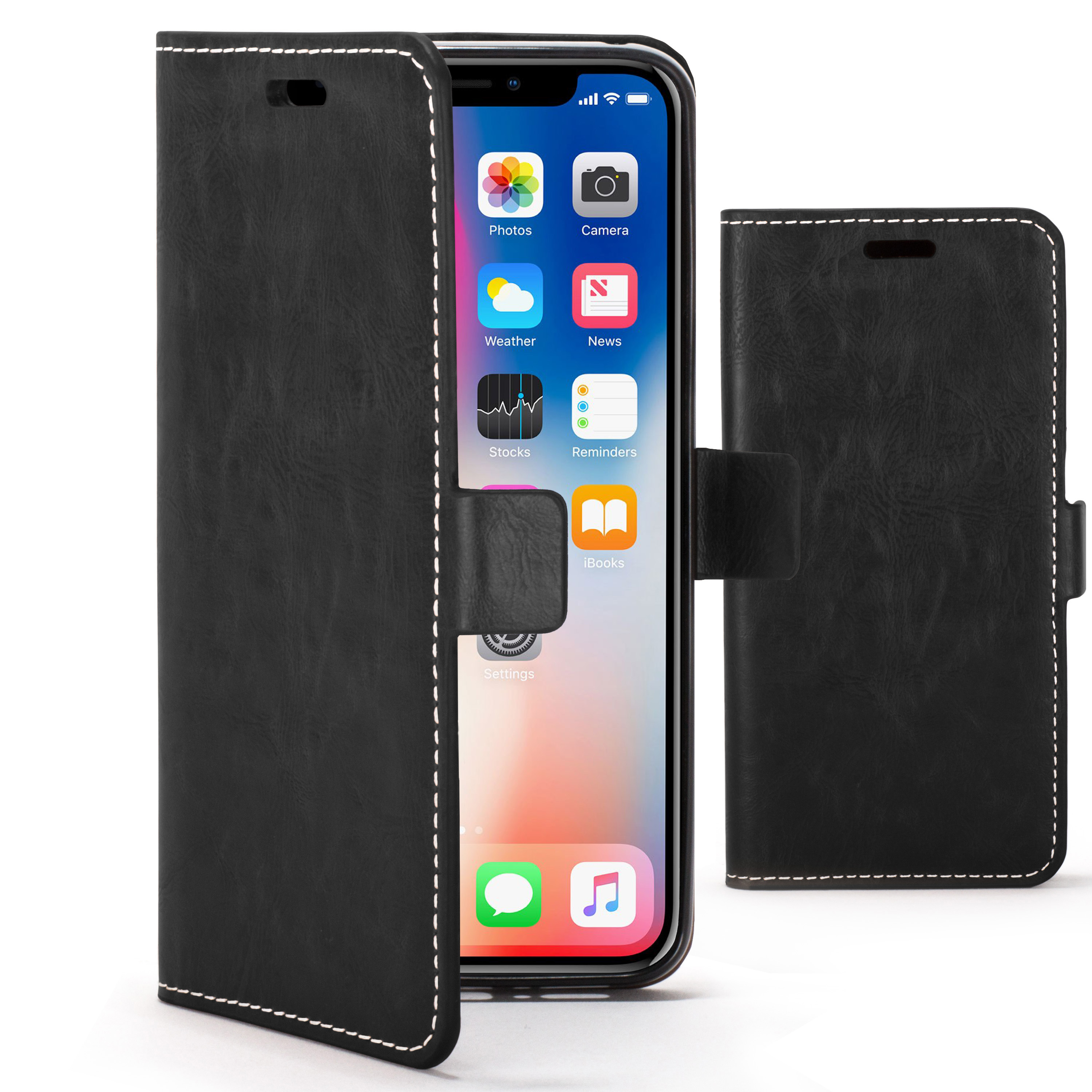 wholesale dealer 311e7 884aa Forefront Cases Apple iPhone X Premium Handmade PU Leather Case Cover |  Black